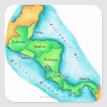 Map of Central America Square Stickers