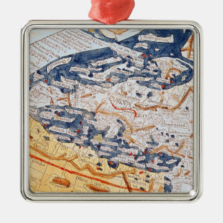 Map of central Europe, 1486 Christmas Ornament