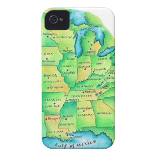 Map of Central United States iPhone 4 Cover