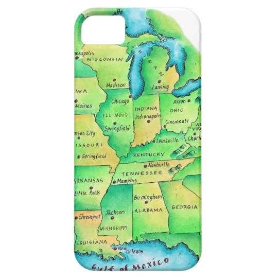 Map of Central United States iPhone 5 Case