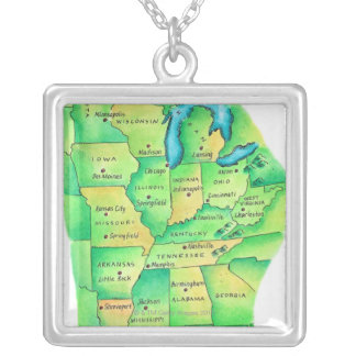 Map of Central United States Silver Plated Necklace