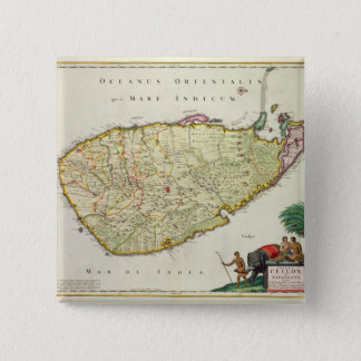Map of Ceylon according to Nicolas Visscher 15 Cm Square Badge