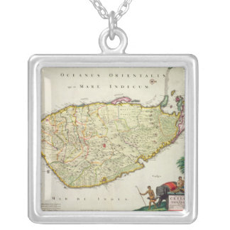 Map of Ceylon according to Nicolas Visscher Silver Plated Necklace