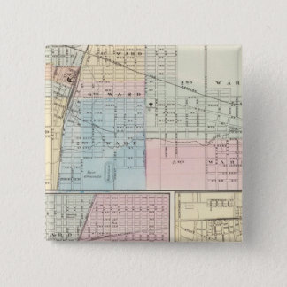 Map of Champaign, Urbana, Mattoon and Charleston 15 Cm Square Badge