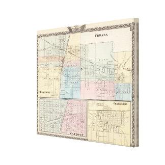 Map of Champaign, Urbana, Mattoon and Charleston Canvas Print