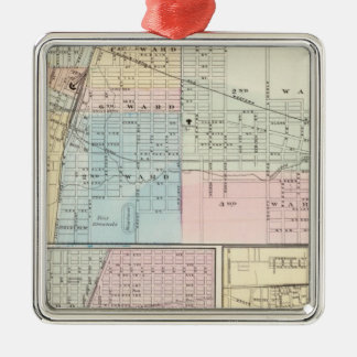 Map of Champaign, Urbana, Mattoon and Charleston Christmas Ornament