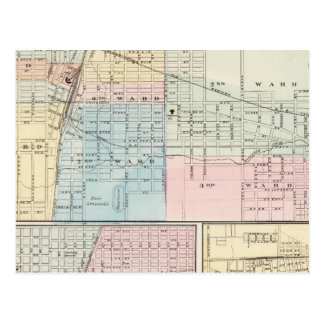 Map of Champaign, Urbana, Mattoon and Charleston Postcard
