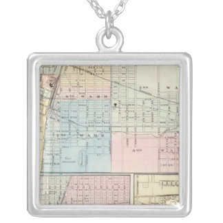 Map of Champaign, Urbana, Mattoon and Charleston Silver Plated Necklace