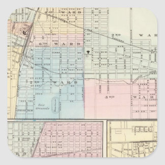 Map of Champaign, Urbana, Mattoon and Charleston Square Sticker