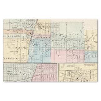 Map of Champaign, Urbana, Mattoon and Charleston Tissue Paper