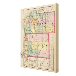 Map of Charlevoix and Antrim counties, Michigan Stretched Canvas Prints