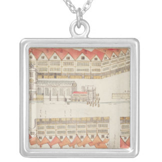 Map of Cheapside, London, 1585 Silver Plated Necklace