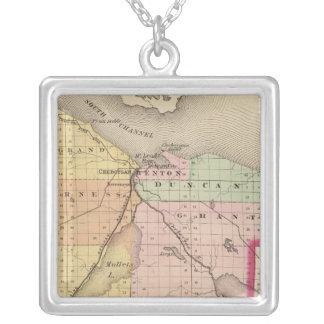 Map of Cheboygan County, Michigan Silver Plated Necklace