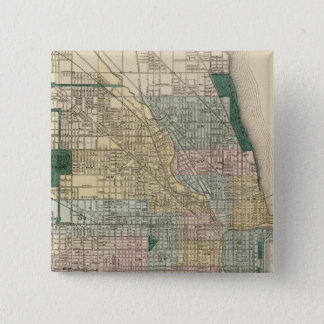 Map of Chicago City 15 Cm Square Badge
