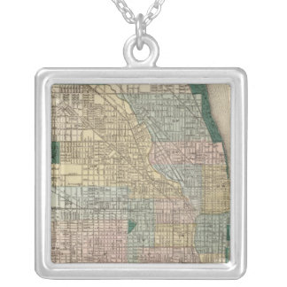 Map of Chicago City Silver Plated Necklace