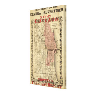 Map Of Chicago Showing The Burnt District Canvas Print