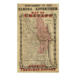 Map Of Chicago Showing The Burnt District Poster