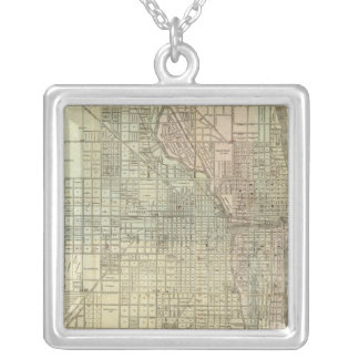 Map Of Chicago Silver Plated Necklace
