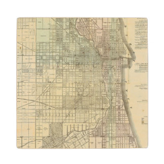 Map Of Chicago Wood Coaster