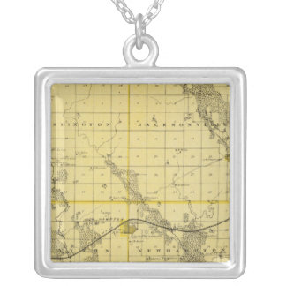 Map of Chickasaw County, State of Iowa Silver Plated Necklace