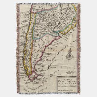 Map of Chili, Patagonia, La Plata Throw Blanket