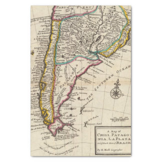 Map of Chili, Patagonia, La Plata Tissue Paper