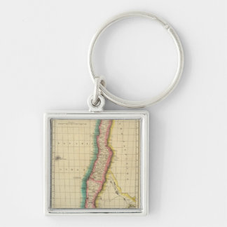 Map Of Chili Silver-Colored Square Key Ring