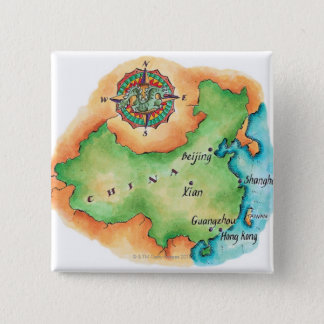 Map of China 15 Cm Square Badge