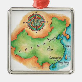 Map of China Silver-Colored Square Decoration