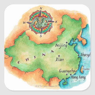 Map of China Square Sticker