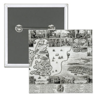 Map of Civil War England and a view of Prague 15 Cm Square Badge