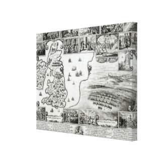Map of Civil War England and a view of Prague Canvas Print