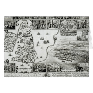 Map of Civil War England and a view of Prague Card