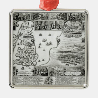 Map of Civil War England and a view of Prague Christmas Ornament