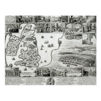 Map of Civil War England and a view of Prague Postcard