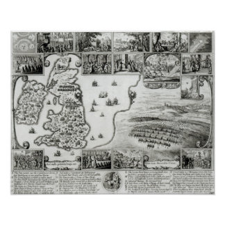 Map of Civil War England and a view of Prague Poster