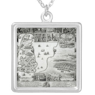 Map of Civil War England and a view of Prague Silver Plated Necklace