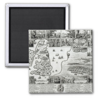 Map of Civil War England and a view of Prague Square Magnet