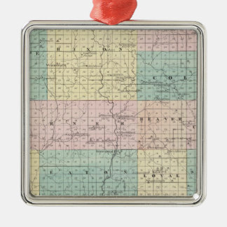 Map of Clark County, State of Wisconsin Silver-Colored Square Decoration