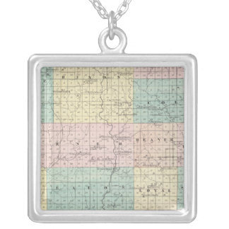 Map of Clark County, State of Wisconsin Silver Plated Necklace