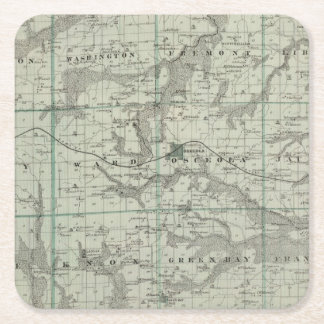 Map of Clarke County, State of Iowa Square Paper Coaster