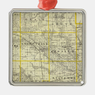 Map of Clay County, Flora and Louisville Christmas Ornament