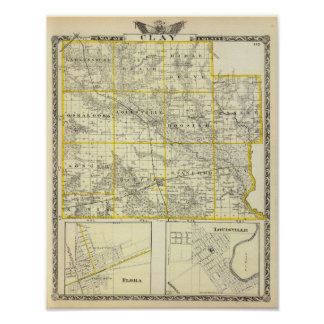Map of Clay County, Flora and Louisville Poster