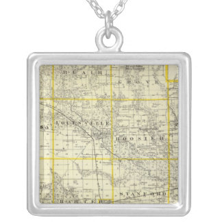Map of Clay County, Flora and Louisville Silver Plated Necklace