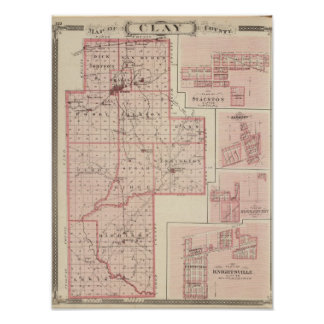 Map of Clay County with Staunton, Harmony Poster