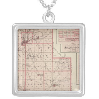 Map of Clay County with Staunton, Harmony Silver Plated Necklace