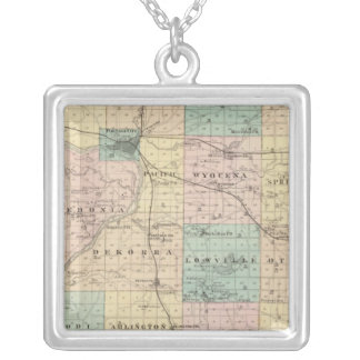 Map of Columbia County, State of Wisconsin Silver Plated Necklace