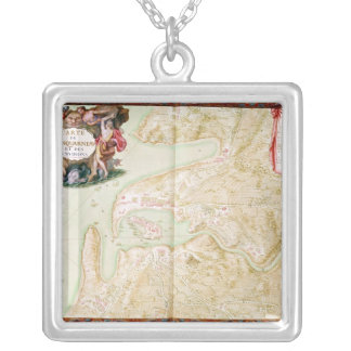 Map of Concarneau Silver Plated Necklace
