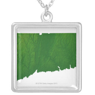 Map of Connecticut 2 Silver Plated Necklace