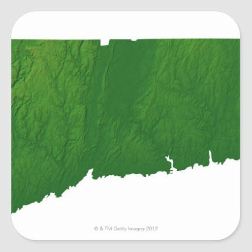 Map of Connecticut 2 Square Stickers